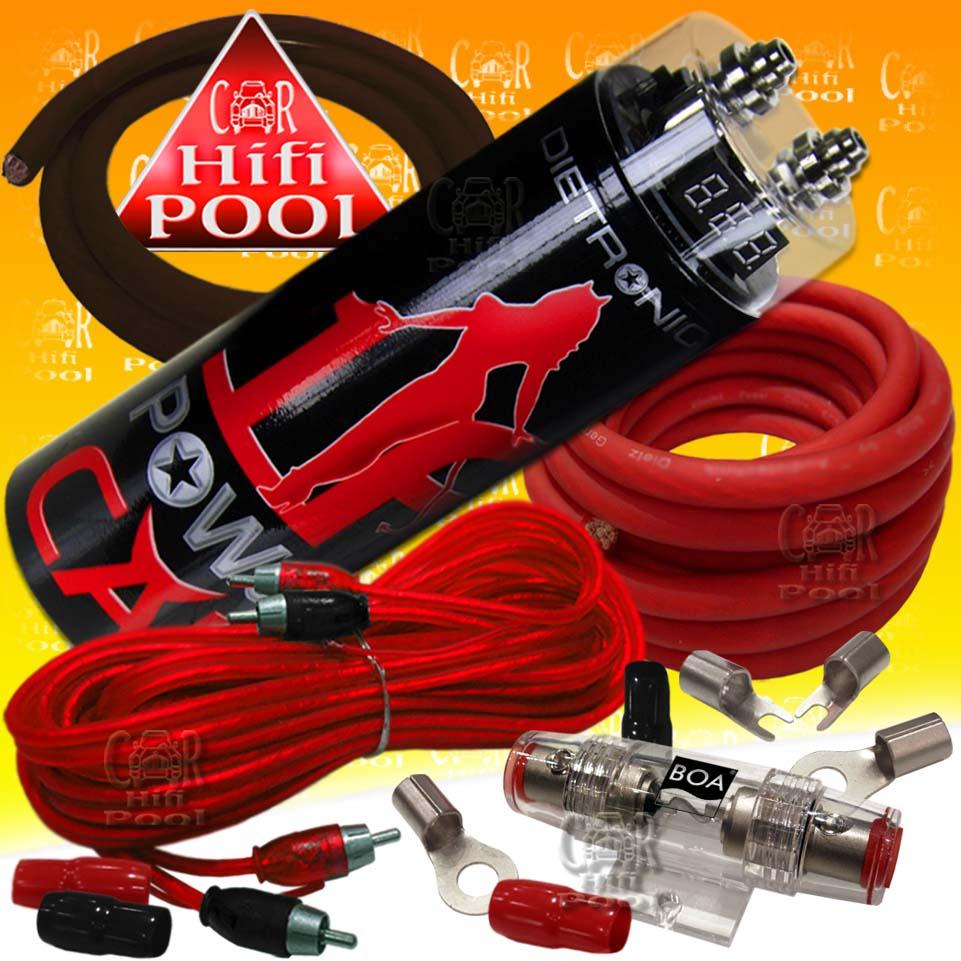 power kit 1 farad powercap car hifi 20mm kabelset ebay. Black Bedroom Furniture Sets. Home Design Ideas